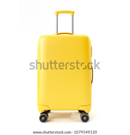 Yellow suitcase isolated on white background.