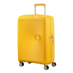 Yellow Suitcase Isolated on White Background. Side View of Trolley Hand Luggage Bag. Roll Along Case. Vip Trolley Bag. Wheeled Luggage. Cabin Baggage. Trolley Travel Bag. Carry on Spinner Trunk