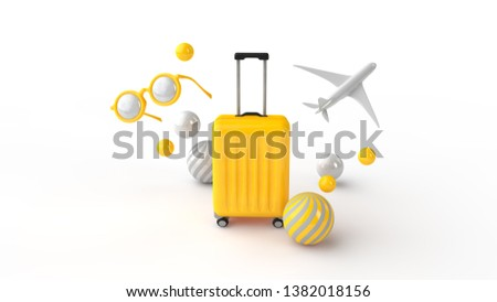 yellow suitcase, sunglasses and a plane and multicolored balloons on a white background 3d rendering