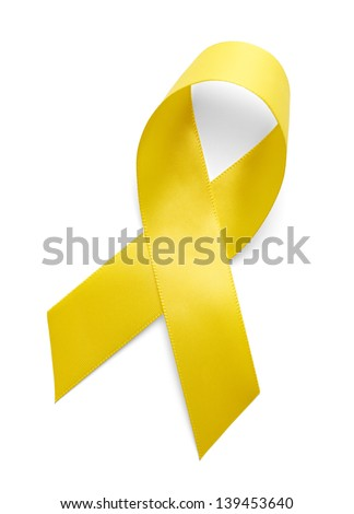 Yellow Support the Troops Ribbon Isolated on White Background.