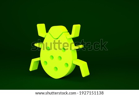 Yellow System bug concept icon isolated on green background. Code bug concept. Bug in the system. Bug searching. Minimalism concept. 3d illustration 3D render.
