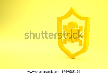 Yellow System bug concept icon isolated on yellow background. Code bug concept. Bug in the system. Bug searching. Minimalism concept. 3d illustration 3D render.