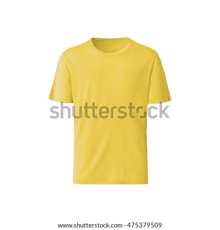 yellow T-shirt isolated on white background - Shutterstock ID 475379509