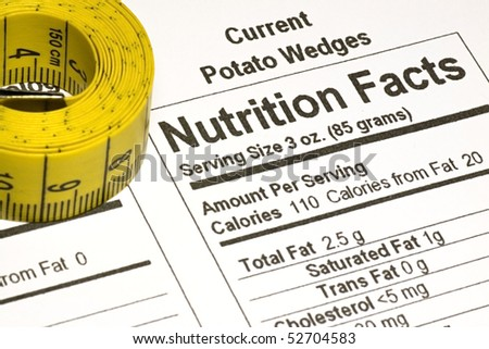 Yellow tape measure next to nutrition information on packaging in the USA