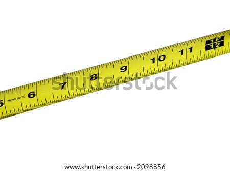 Yellow tape measure shot close up over white background