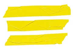 Yellow tape stickers isolated. Adhesive grunge ripped tape pieces set on white background