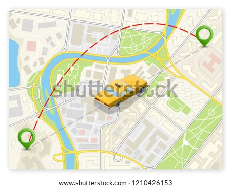 Yellow taxi cab banner isometric. Online navigation application order taxi service. Isometry car isometric route banner. 3D taxi classic vehicle itinerary road. Get a taxi online phone application