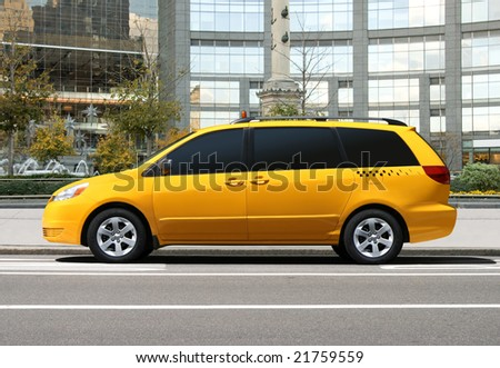 Yellow taxi car in the city