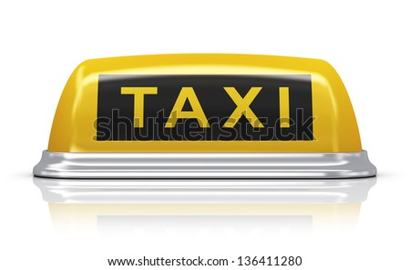 Yellow taxi car roof sign isolated on white background with reflection effect