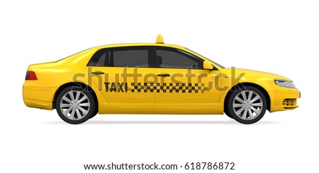 Yellow Taxi Isolated. 3D rendering