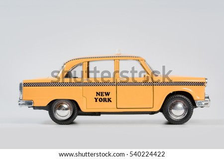 yellow taxi toy retro car model ...