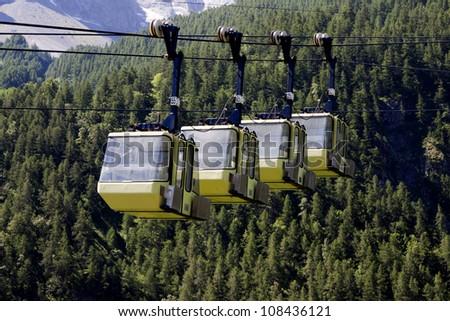 Yellow Teleferics of Monetier Les Bains, Grenoble, France. Zdjęcia stock ©