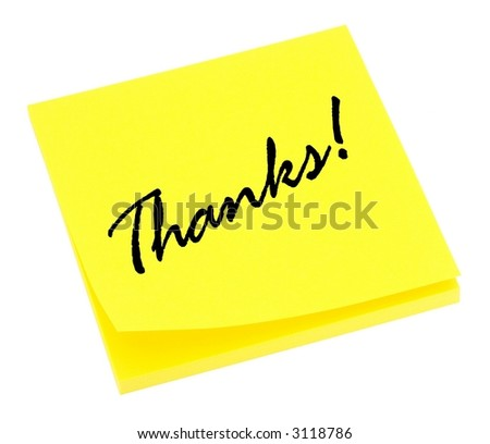 Yellow thank you note isolated on white. - stock photo