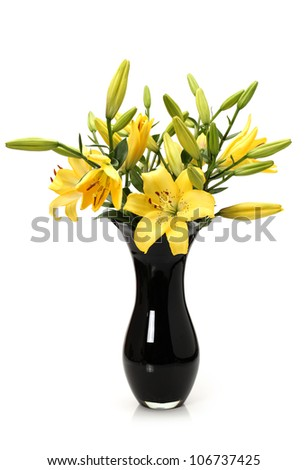 Yellow tiger lily in black vase on white background