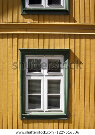 Yellow tongue and groove wall and white windows with green frame.