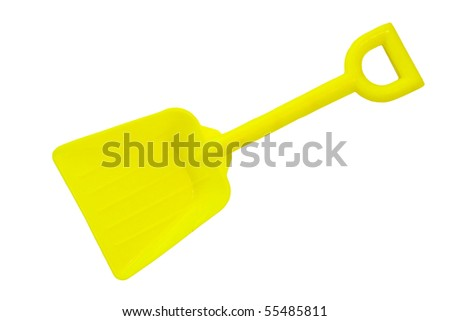 yellow toy shovel isolated on a white background
