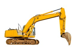 Yellow tracked excavator isolated on white background. Backhoe loader isolation. Rock breaker machine