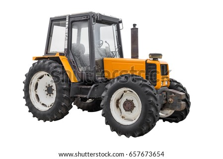 yellow tractor isolated on white background #657673654