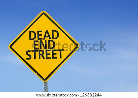 """Yellow traffic sign """"Dead end street"""" on the sky background"""