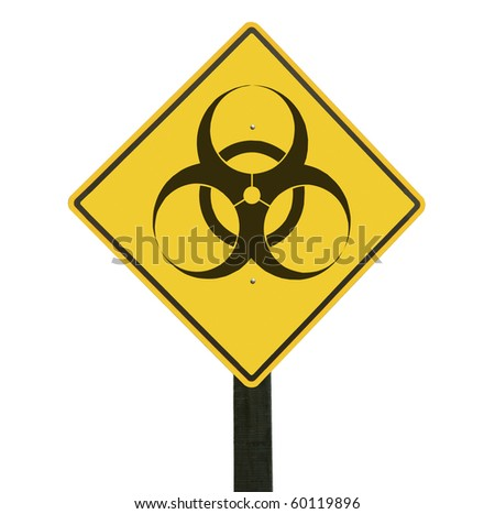 Yellow traffic sign with biohazard symbol, isolated, clipping path. - stock photo