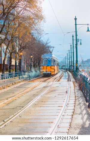 Yellow trams - Ground is covered with red fallen leaves in Budapest, Hungary #1292617654