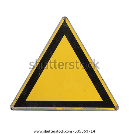 Yellow triangle. Sign clean surface for collage on white background #535363714