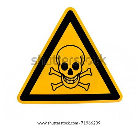Yellow triangular danger sign with black skull