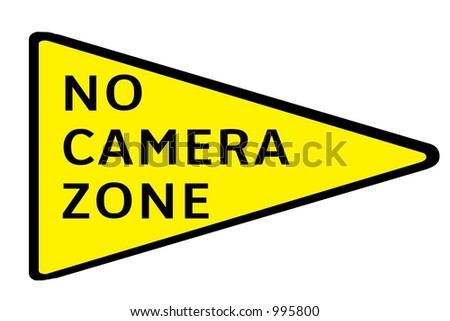 Yellow Triangular No Camera Zone Sign Isolated On A White ...