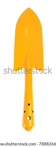 Yellow trowel isolated on white background