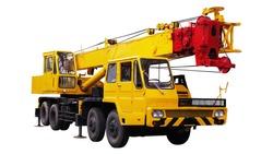 Yellow Truck Crane, Isolated