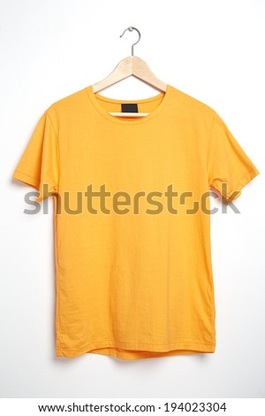Yellow Tshirt Template On Hanger Ready For Your Own Graphics 194023304