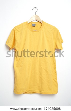 Yellow tshirt template on hanger ready for your own graphics.