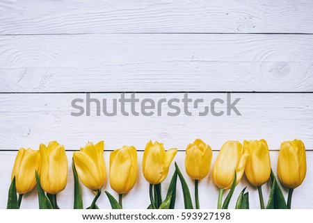 Yellow Tulips Floral Border Frame On White Wooden Planks Rustic Barn Rural Background Empty Space