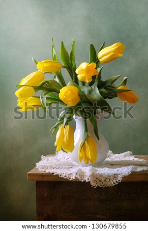 Yellow tulips in a vase