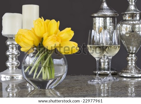 Yellow Tulips In Vase With Glasses Of Wine Home Decor