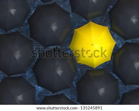 Yellow umbrella. Bright yellow umbrella among set of black umbrellas. - stock photo