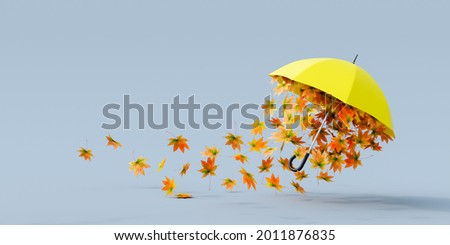Yellow umbrella flying with colorful autumn leaves on gray background 3D Rendering, 3D Illustration