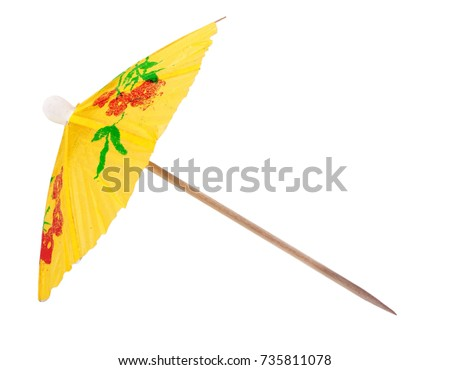 yellow umbrella for a cocktail isolated on white background #735811078