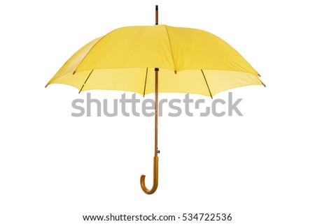 yellow umbrella isolated on white background #534722536