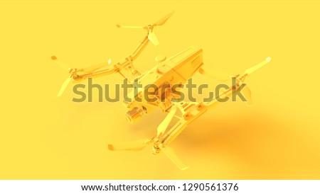 Yellow Unmanned Aerial Vehicle Drone 3d illustration 3d render