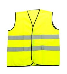 Yellow vest, isolated on black