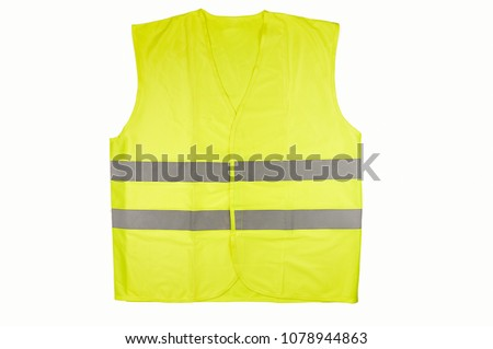 Yellow vest isolated on black #1078944863