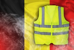 Yellow Vest Protest, Belgium Flag with Red Flare Smoke
