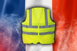 Yellow Vest Protest, France, French Flag with Red Flare Smoke