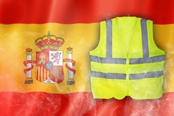 Yellow Vest Protest, Spain Flag with Red Flare Smoke