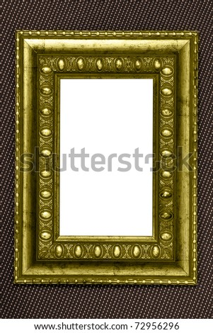 yellow vintage metal frame with white background over fabric texture