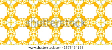Yellow Vintage Seamless Background. Ethnic Ornament Print. Ornate Tile Background Golden Green Embroidery net. Antique Element Royal Kaleidoscope Pattern Floral Elements Floral Elements
