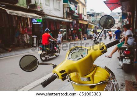 yellow vintage style motorbike...
