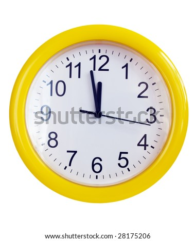 Yellow wall clock isolated on white