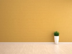 yellow wall interior with plant vase on wood floor